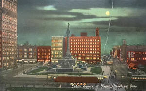 Night Scene Postcards - Public Square, Cleveland by Yesterdays-Paper