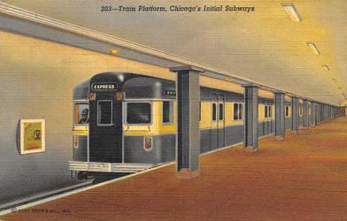 Vintage Chicago - Subway Train Platform