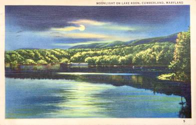 Night Scene Postcards - Lake Koon, Cumberland MD