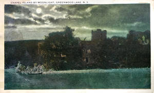 Night Scene Postcards- Chapel Isle, Greenwood Lake by Yesterdays-Paper