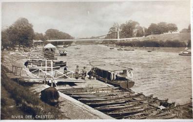 Vintage UK - Chain Bridge at Berwyn, River Dee by Yesterdays-Paper