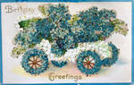Beaded Blue Birthday Buggy by Yesterdays-Paper