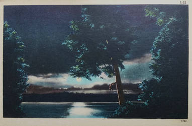 Night Scene Postcards - Moon Over A Crystal Lake by Yesterdays-Paper