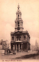 Vintage UK - St Mary le Strand, London by Yesterdays-Paper