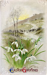 Vintage Easter - Snowdrop Greetings by Yesterdays-Paper