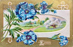 Vintage Easter - Joyful Cornflower Landscape