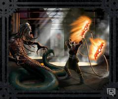 Steampunk God of War VS Medusa by JoseRealArt