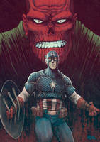 Cap and Red Skull by JoseRealArt
