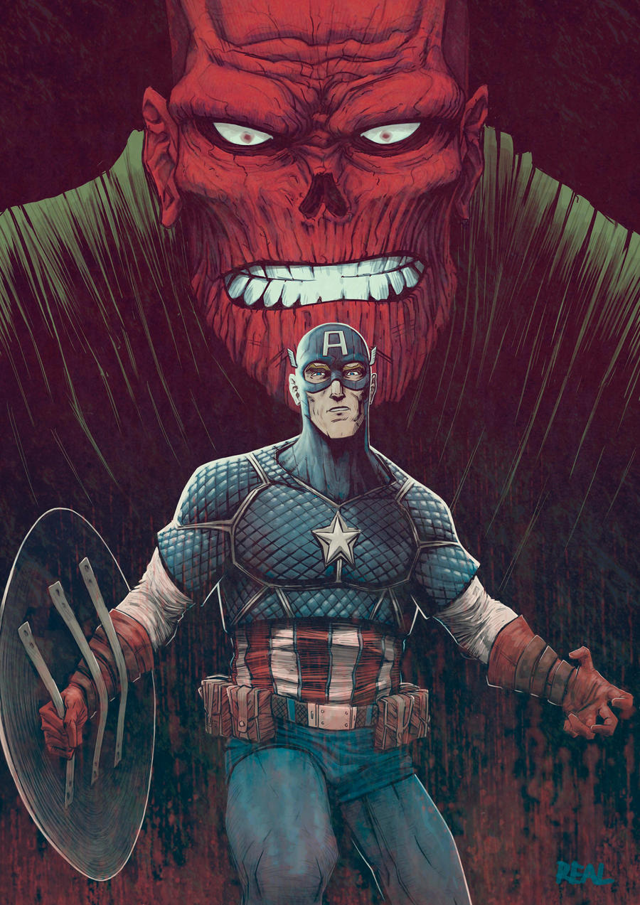 Cap and Red Skull by JoseRealArt