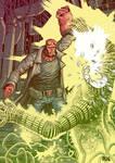 Hellboy against the electric homunculus