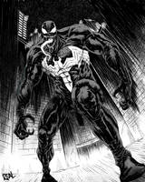 Venom (black and white) by JoseRealArt