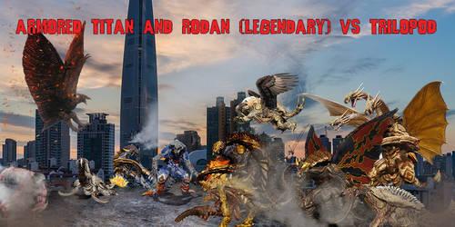 Armored Titan and Rodan vs Trilopod v2