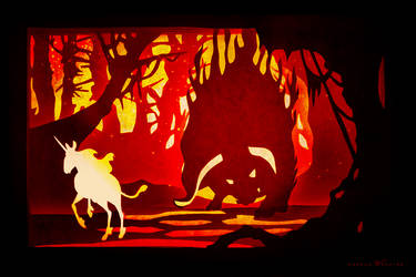 PaperCut - The Unicorn and the Burning Bull by CDPmediendesign