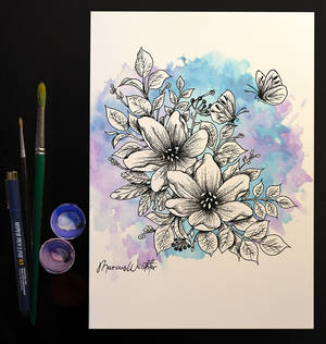 Drawing and watercolor - flowers and butterflies