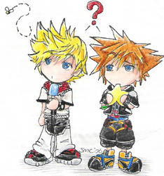 Roxas and Sora cuteness attack by Gimli-kins