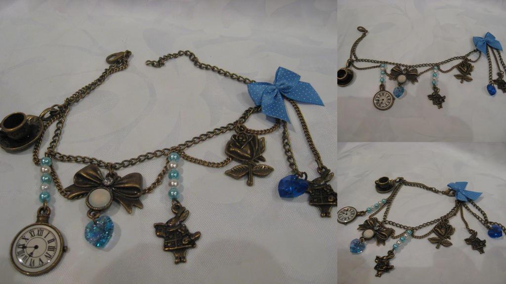 Alice's adventure charm bracelet, blue by assassin-kitty
