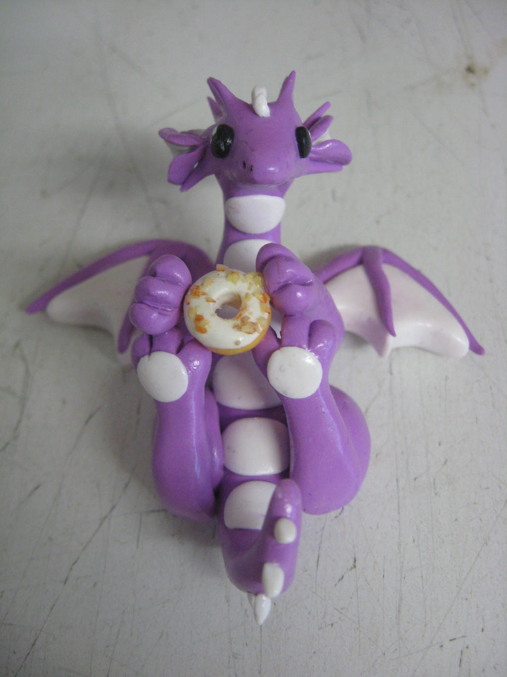 polymer clay doughnut dragon by assassin-kitty