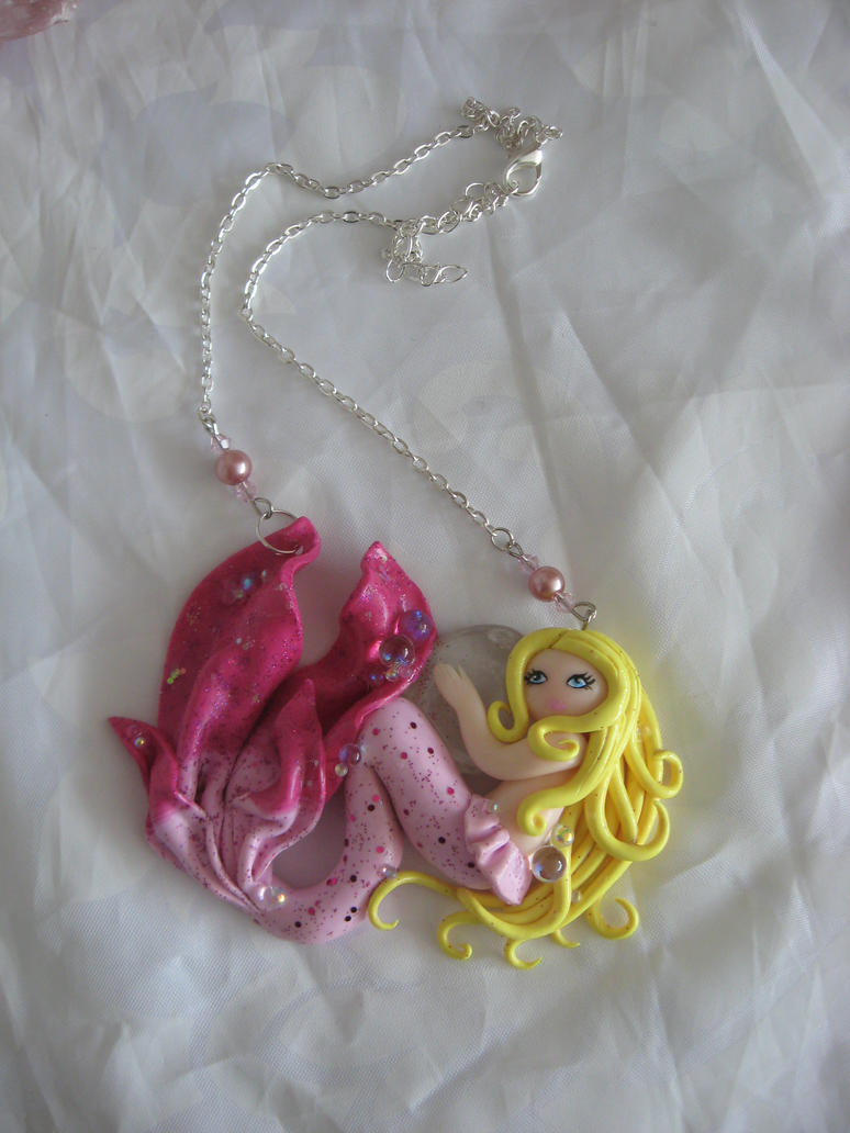 Pink Mermaid necklace by assassin-kitty