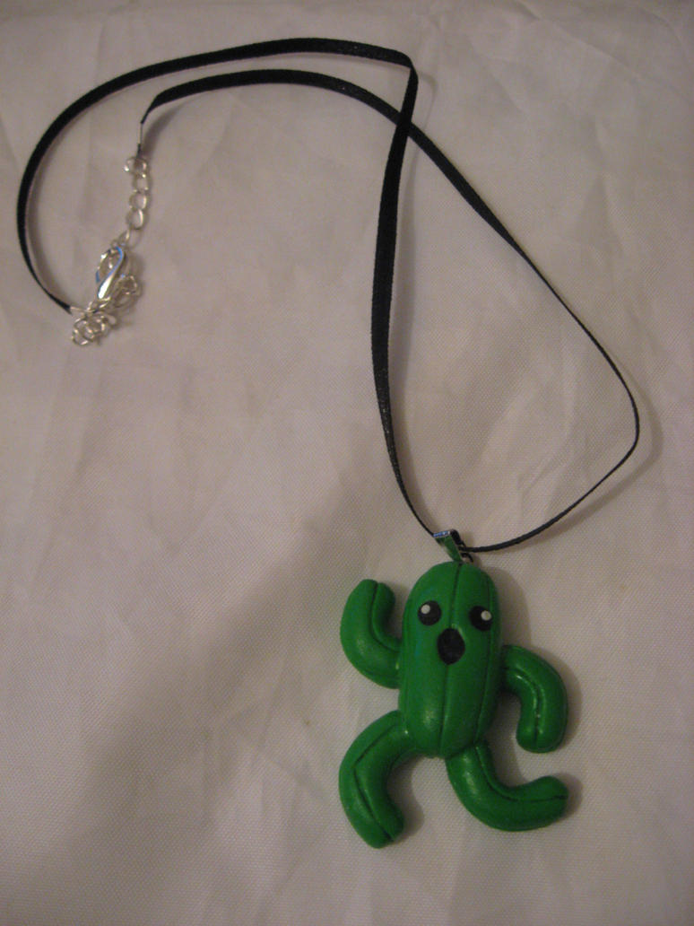 Cactuar charm necklace by assassin-kitty