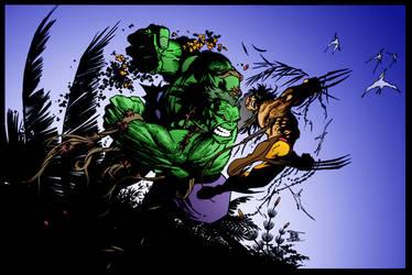 Hulk v Wolverine by Adam Kubert