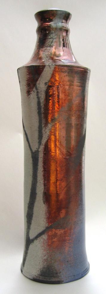 Tall Raku Bottle pottery