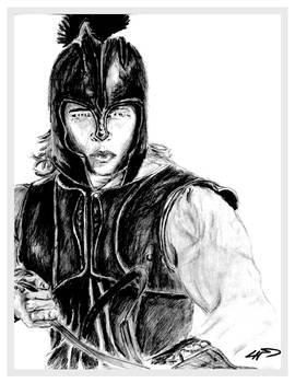 Sketch of Brad Pitt from the film Troy