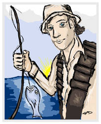 Digital Art of a Fisherman by chorvath8