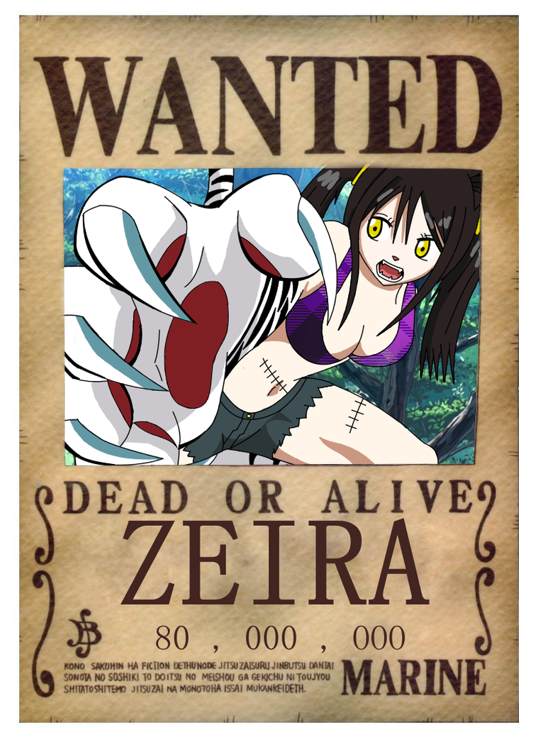 one piece zeira 39 s wanted poster by blueraina16 on deviantart. Black Bedroom Furniture Sets. Home Design Ideas