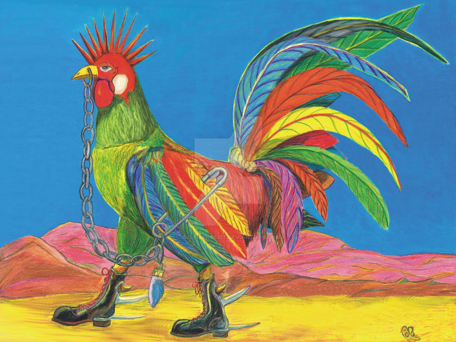 Punky Rooster w/Sandia Mountains, Albuquerque, NM by AJLeibengeist