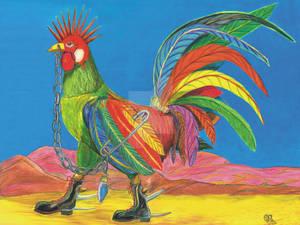 Punky Rooster w/Sandia Mountains, Albuquerque, NM
