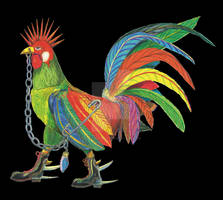 Punky Rooster on Black Background