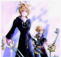 Roxas and Sora by inkscripter