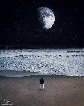 Moon landscape scenary