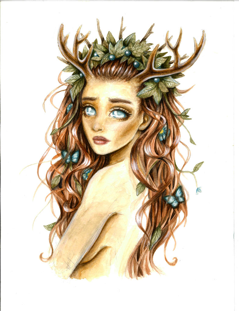 Girl with Antlers by LinnXAH