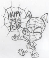 Happy Pig Year for Spider-Ham by F-T-Bing-lin
