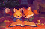 Foxes by the Fireplace