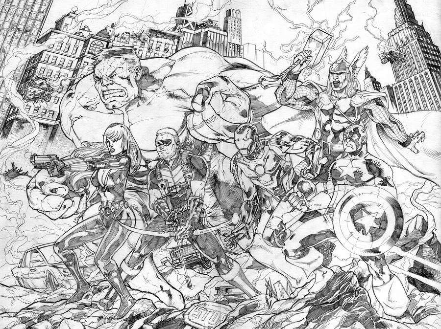 Avengers NYCC print - pencils by fabioredivo