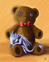 Dragon and Teddy by Kelesaii