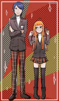 Yusuke y Futaba with Shujin uniform