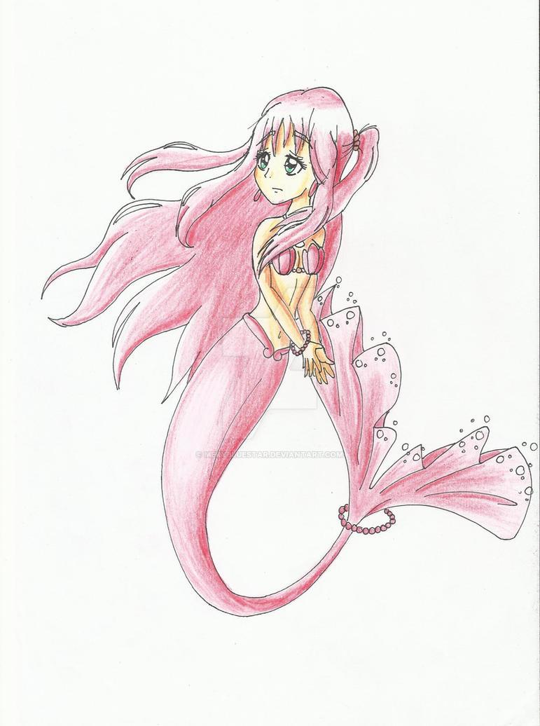 My OC mermaid Reiko (improved) by merybluestar