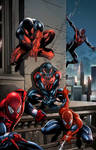 Five Spidey's - Spiderman costumes - Jason Metcalf