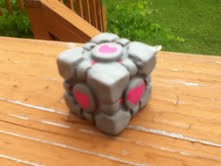 Polymer Clay Companion Cube by thepurpleunicorn