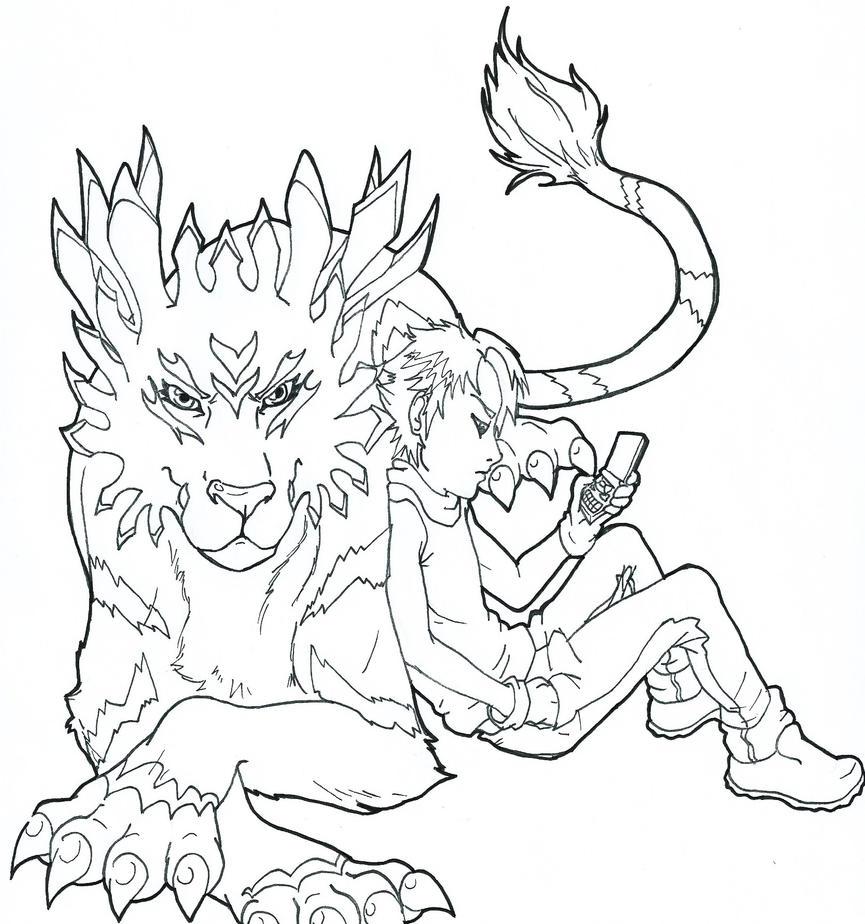 digimon weregarurumon coloring pages-#11