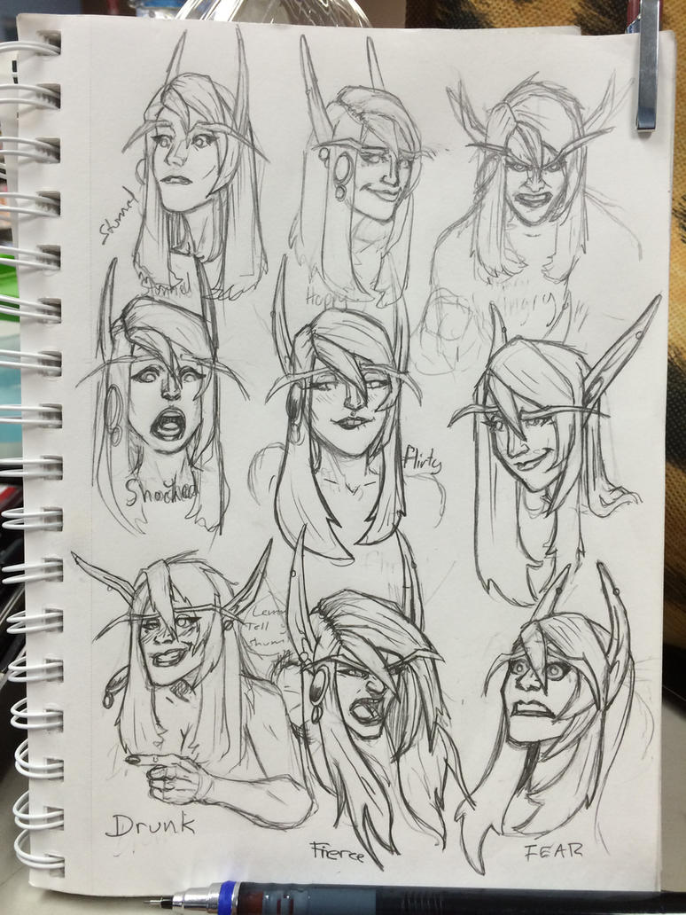 Female blood elf expressions practice by Jason-Troxell