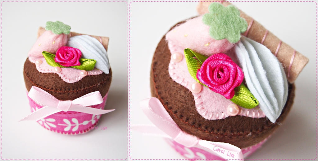 Fuchsia Rose Chocolate Cupcake by CraftersBoutique