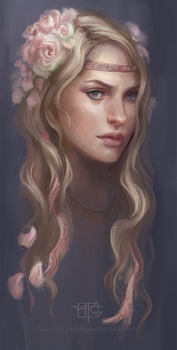 Girl with roses sketch