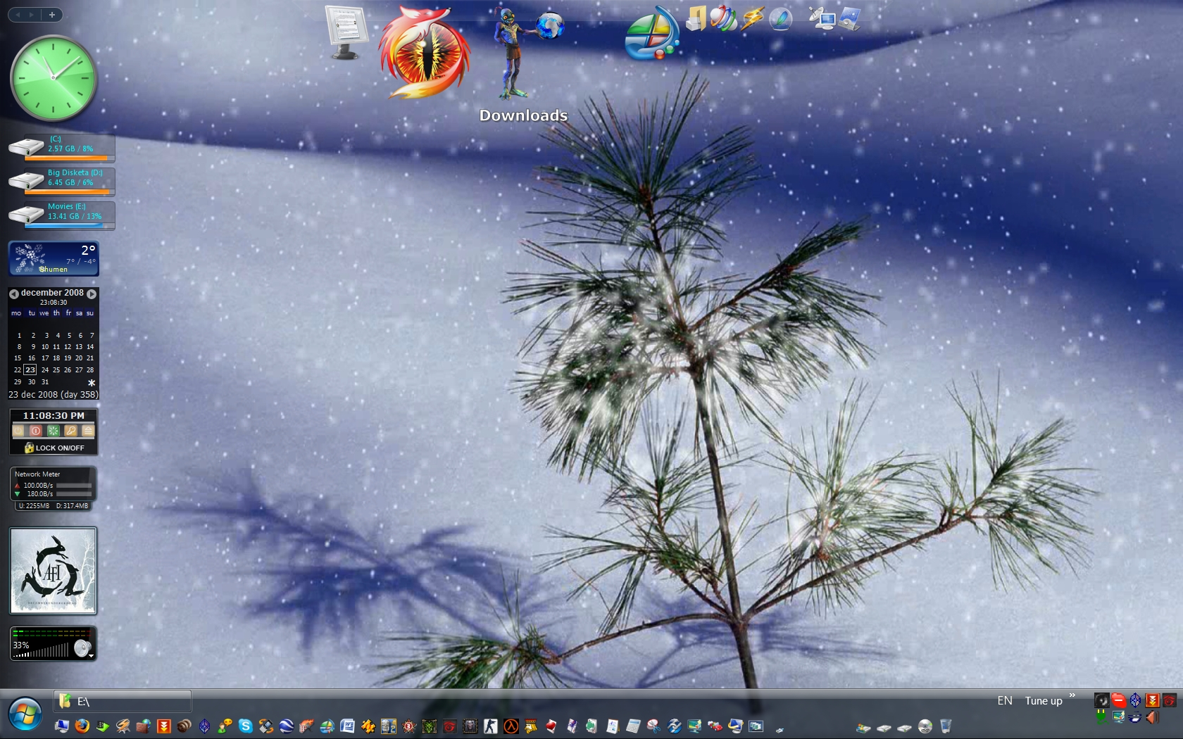Outside snowing on my pc to by bazikcho
