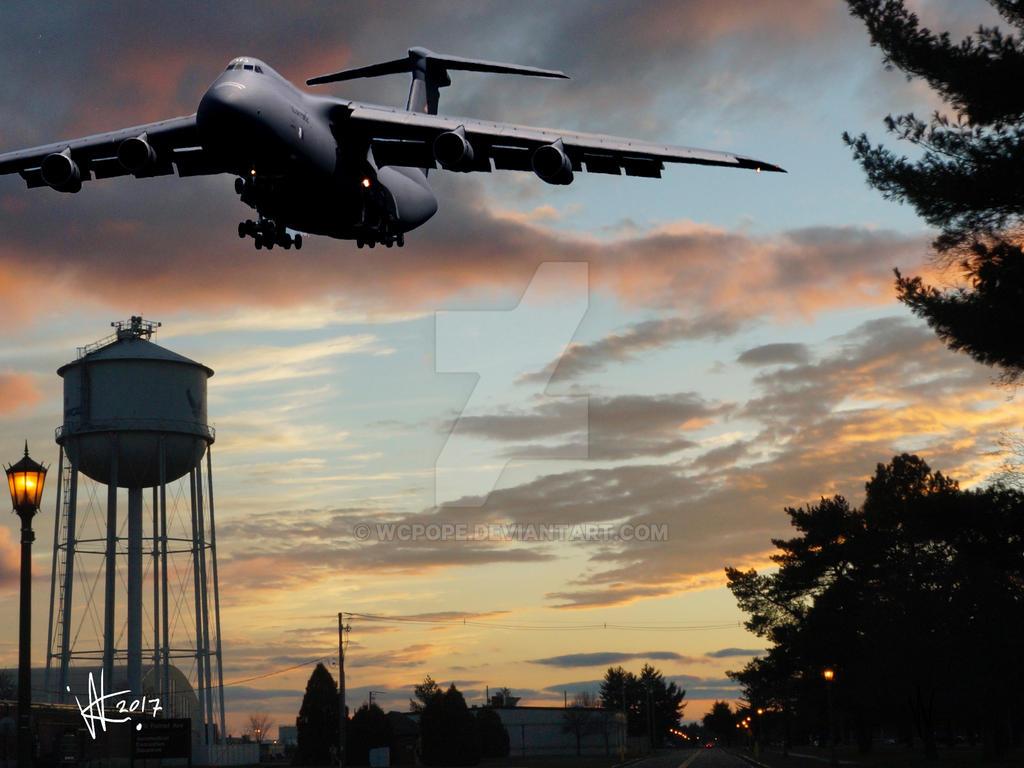 C-5 flys over Westover Air Reserve Base