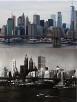 Brooklyn Bridge and Skyline 1960s to Present by newyorkx3