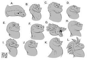 T Rex Head Concepts by Zukitz